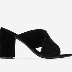 COLE HAAN black suede chunky heeled sandal